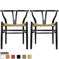 2xhome - Set of 2 Black Modern Wood Arm chair With Arms Modern Dining For Home Restaurant Office