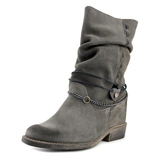 Coolway Filter Women Round Toe Suede Black Mid Calf Boot