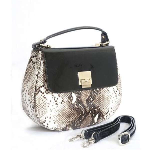 Bravo Handbags Bv5 7924 Lara Snake Print Leather Handbag