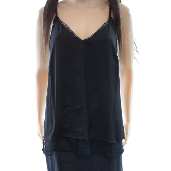0ceacf07466f08 Shop Bar III NEW Black Women s Size Small S Lace Trim V-Neck Tank Cami Top  - Free Shipping On Orders Over  45 - Overstock.com - 18413354