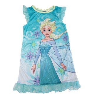 Disney Girls Aqua Frozen Short Sleeve Elsa Nightgown Set