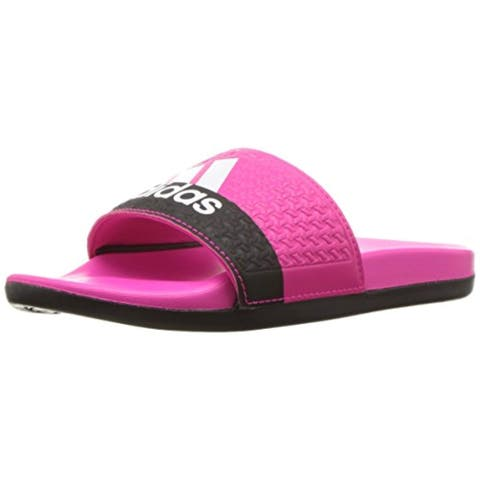 adidas Unisex Adilette Cloudfoam+ Slide Sandal, Shock Pink/White/Black, 4 M US Big Kid
