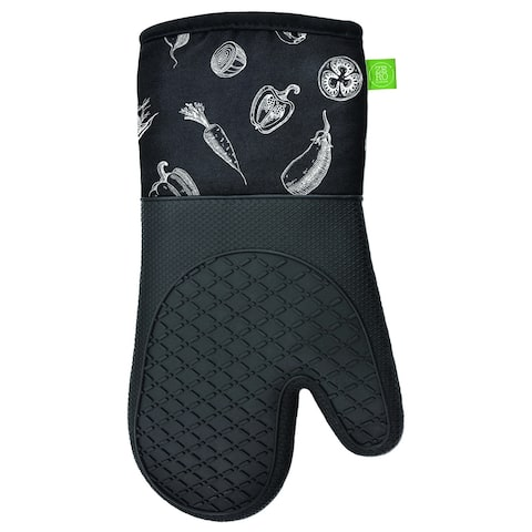 "Oven Mitts Silicone Printed 2PK Black - 13"" x 7"""