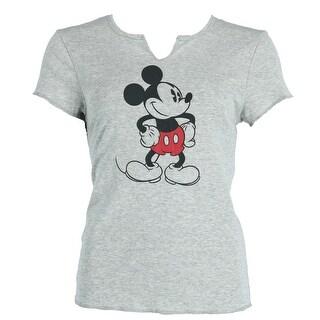 Disney Women's Mickey Mouse V Neck Tee Shirt - Grey