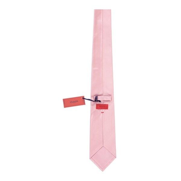 Isaia Napoli Men Light Pink 100/% Silk Solid Pattern Handmade Tie RTL$275 NWT