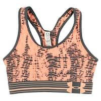 Under Armour Womens HeatGear Alpha Mid Printed Sports Bra Peach - peach/charcoal grey - xs (us 0-2)