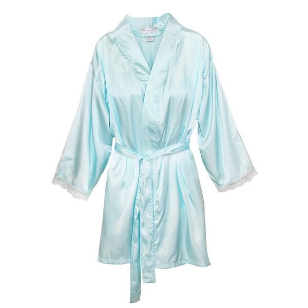 Aegean Women's Satin Lace Kimono Robe