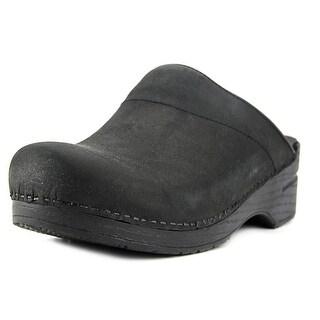 Dansko Karl Women Round Toe Leather Black Clogs