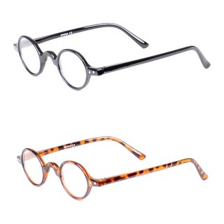 Retro Round Reading Glasses - 2 Pair Pack - Black/Tortoise
