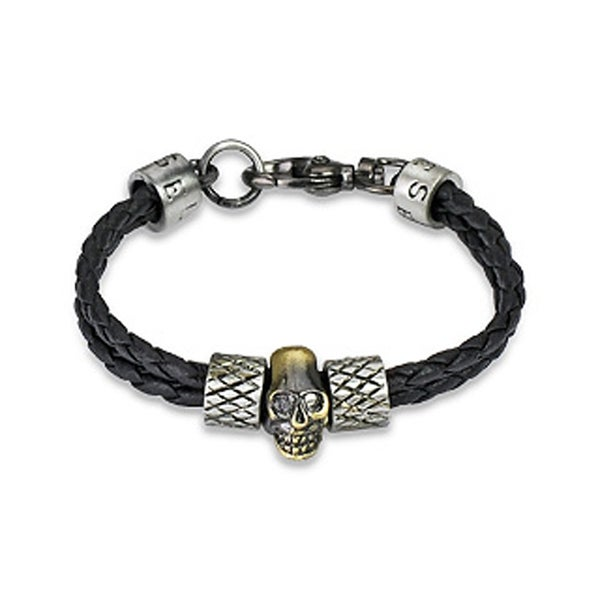 Braided Leather Skull Charm Bracelet (7 mm) - 8 in