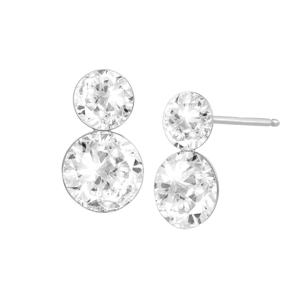 Crystaluxe Double Drop Earrings with Swarovski elements Crystals in Sterling Silver