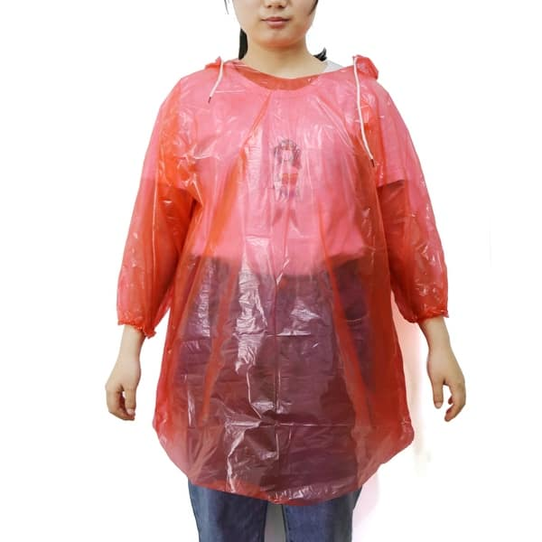 7e42f95c9a3f2 Red One Size Adult Disposable Hooded Pullover Raincoat Rain Poncho for  Children. Image Gallery