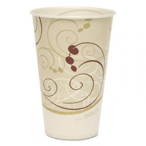 Symphony Treated-Paper Cold Cups, 12Oz, White/Beige/Red, 100/Bag, 20 Bags/Carton - White