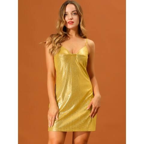 Women Sparkly Metallic Glitter Spaghetti Strap Party Mini Dress