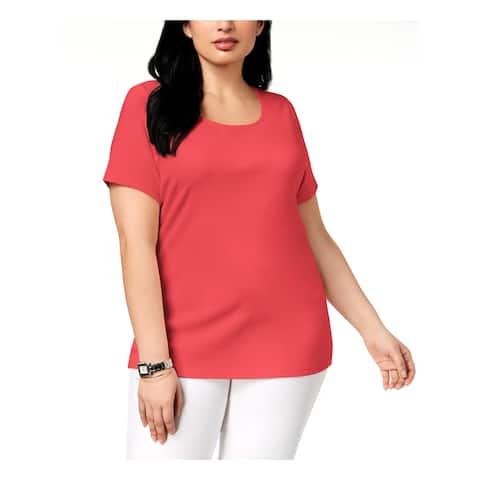 Karen Scott Womens Plus T-Shirt Short Sleeves Crewneck