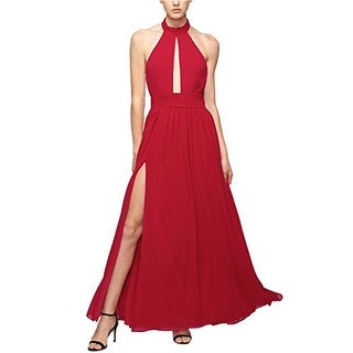 Fame and Partners Women's Keyhole Halter Dress with Front Slit, Red, 8