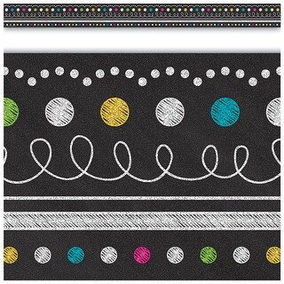Teacher Created Resources Chalkboard Brights Straight Border Trim, Pack of 12