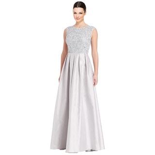 Aidan Mattox Metallic Embellished Pleated Evening Gown Dress