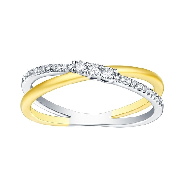 Brand New 0.14 Carat Round Brilliant Cut Natural G-H/SI1 Diamond Fancy Ring - White G-H