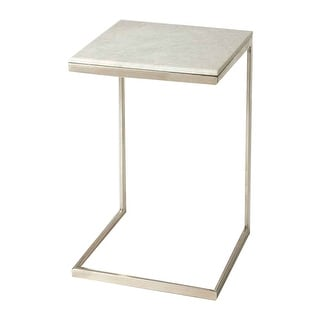 Lawler Distressed Nickel Metal and Marble Square End Table