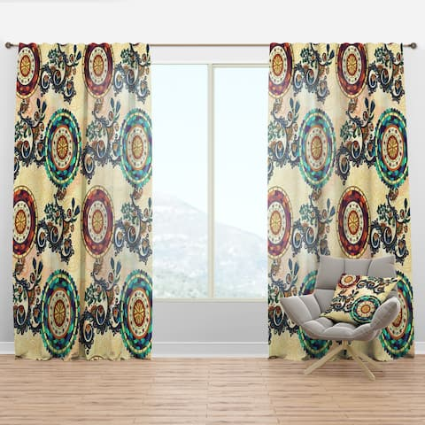 Designart 'Floral Paisley Ethnic' Bohemian & Eclectic Curtain Panel