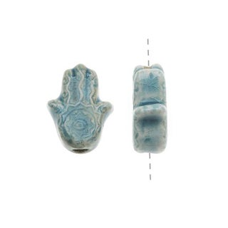 High Fire Ceramic Bead - Hamsa Hand 11x14mm (2)