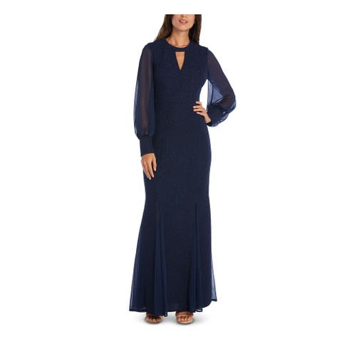 NIGHTWAY Navy Long Sleeve Full-Length Dress 4