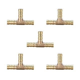 "5/16"" Brass Barb Hose Fitting Tee 3 Way Connector Joiner Air Water Fuel Gas,5pcs - 8mm 5pcs"