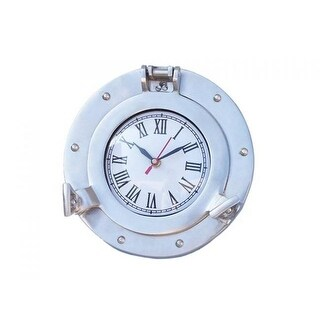 8 in. Deluxe Class Decorative Ship Porthole Clock, Brushed