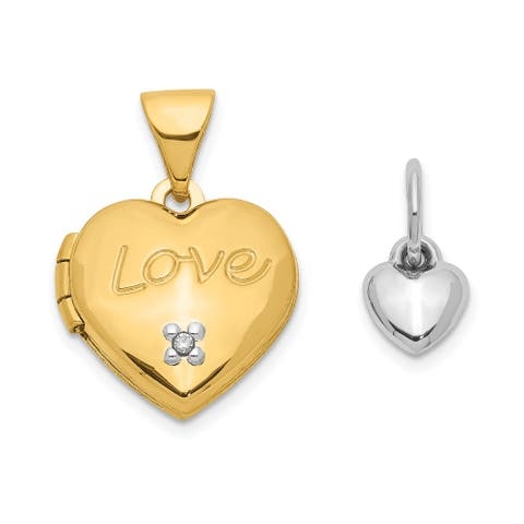 14K Two-tone 12mm Heart with Diamond Locket and Heart Charm with 18-inch Cable Chain by Versil