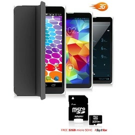 "Indigi® 7.0"" HD Unlocked 3G (2-in-1)Android 4.4 SmartPhone & TabletPC w/ Built-in Smart Cover + 32gb microSD (Black)"
