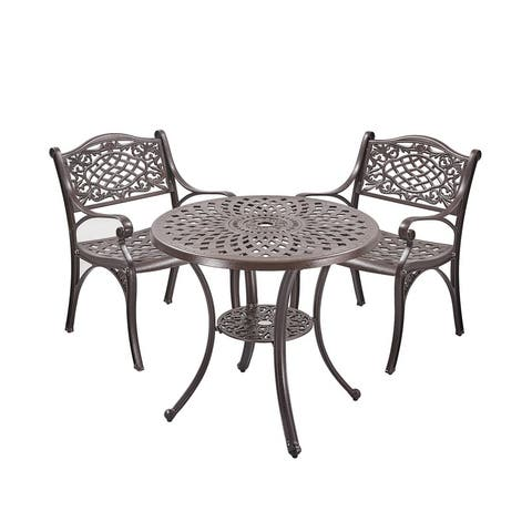 3Pcs Patio Upland Elizabeth Cast Aluminum Garden Furniture Set, Bronze