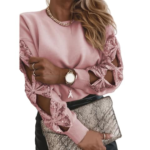 Women Elegant Solid Color Sequin Knitted Sweater Hollow Out Long Sleeve Pullover