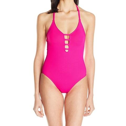 La Blanca Pink Womens Size 8 Lattice Cutout One-Piece Swimsuit