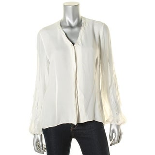 Elie Tahari Womens Anti Peony Blouse Silk Hidden Button Front Blouse