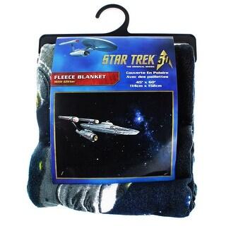 """Star Trek Enterprise 45""""x60"""" Glitter Fleece Blanket - Multi"""