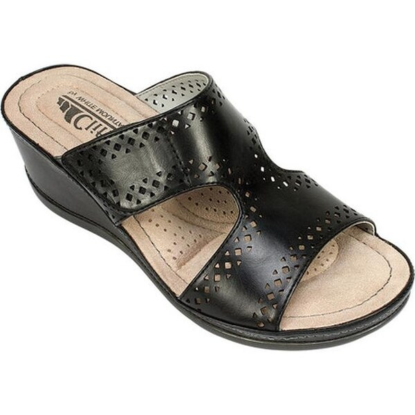 3a66297caa2c Cliffs by White Mountain Women  x27 s Felina Perforated Slide Black  Burnished Smooth Polyurethane