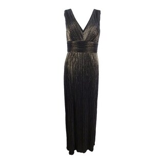 Jessica Howard Women's Pleated Metallic Slit Gown