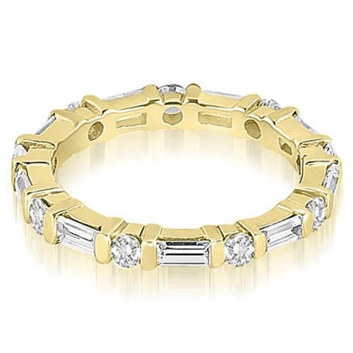 1.25 cttw. 14K Yellow Gold Baguette and Round Diamond Eternity Ring