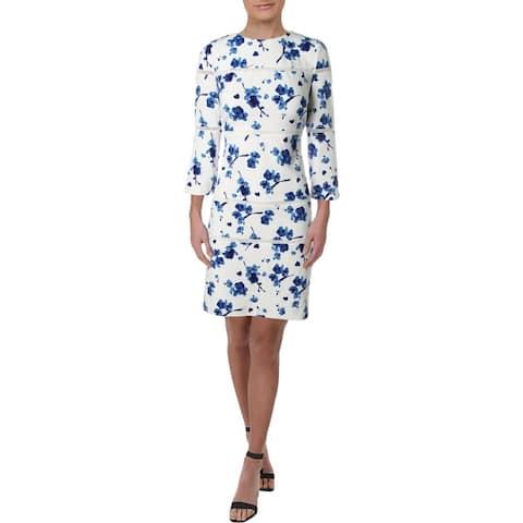 Lauren Ralph Lauren Womens Wear to Work Dress Lace Trim Floral - White Multi