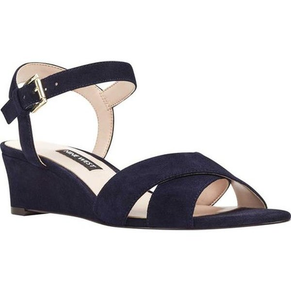 0587820a4dff Shop Nine West Women s Laglade Wedge Sandal French Navy Suede - Free  Shipping On Orders Over  45 - Overstock - 22864573