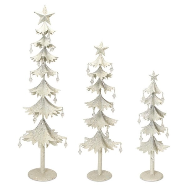 Set of 3 White Glittered Clear Gem Accented Flared Tier Christmas Tree Table Top Decoration 33""