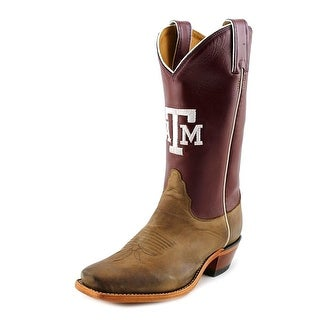 Nocona Texas A&M Vintage Women Square Toe Leather Burgundy Western Boot