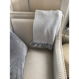 LR Home Damask Reversible Grey Cotton Couch Throw Blanket