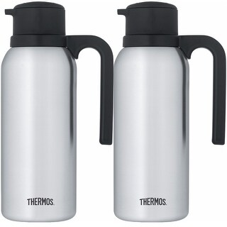 Thermos Vacuum Insulated 32 Ounce Compact Stainless Steel Carafe 2PK