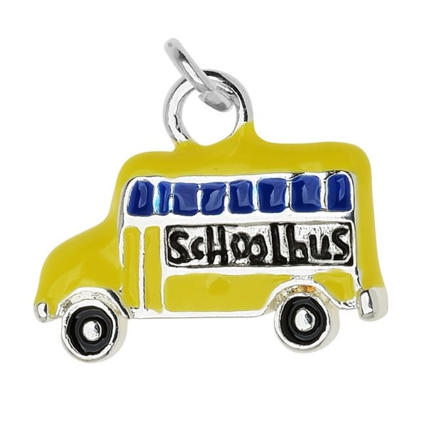 Silver Plated and Enameled Charm, School Bus (Left) 12.3x15.3x2.7mm, 1 Piece, Yellow