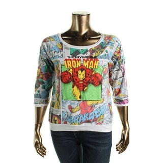 Freeze Womens Juniors Raglan Sleeves Iron Man Graphic Tee - XL