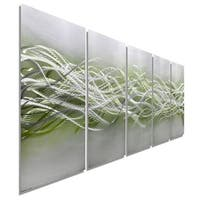 Statements2000 Green/Silver Abstract Metal Wall Art Panels by Jon Allen - Blades of Spring
