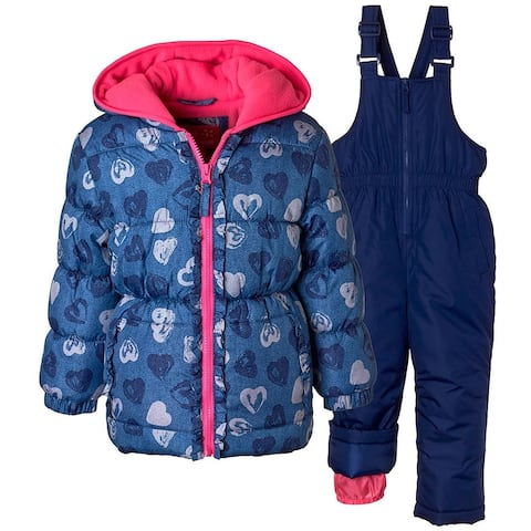 Pink Platinum Girls 2T-4T Heart 2-Piece Snowsuit - Blue