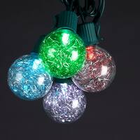 Set of 10 Color Changing Multi-Color LED G40 Tinsel Christmas Lights -Green Wire - multi